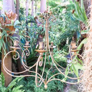 picnic hire brass chandelier