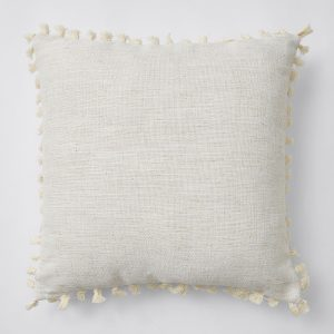 cream tassel boho cushion