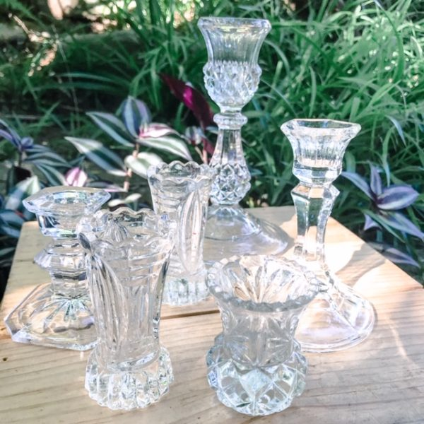 picnic hire crystal candlestick holders
