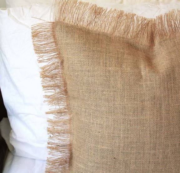 hessian boho cushion