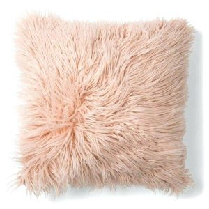 shaggy pink boho cushion
