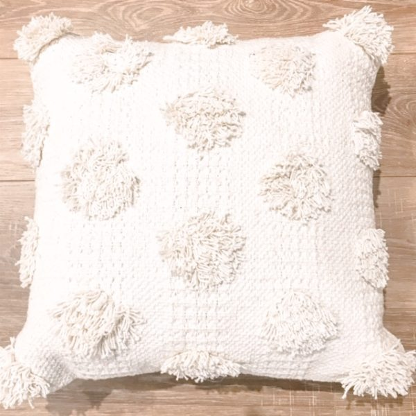 ivory tufted cushion hire